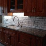 Kitchen Sink Backsplash with White 3D / beveled subway tile