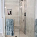 shower with niche and mosaic insert
