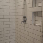 long subway tile, hexagon floor, niches