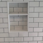 Corian framed niche in tub surround