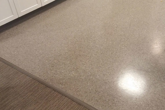 Levin in Avon's VCT (Vinyl Composite Tile) Floor